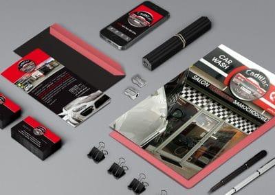 Cadillac – logo, ulotki, wizytówki, oznakowanie budynku, projekt, druk