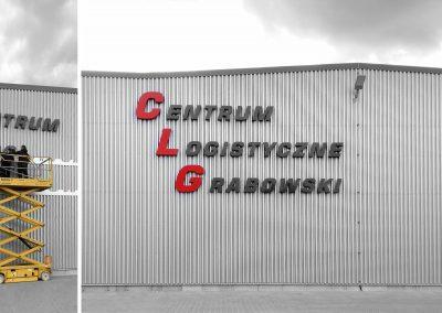 Centrum Logistyczne Grabowski – litery przestrzenne, projekt, montaż