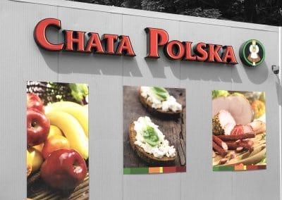 Chata Polska – litery przestrzenne, tablice ze zdjęciami, druk, montaż