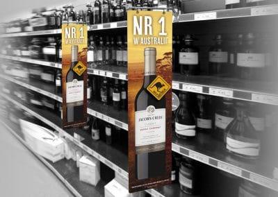 Wyborowa Pernod Ricard – Jacobs Creek, reklama na półce sklepowej