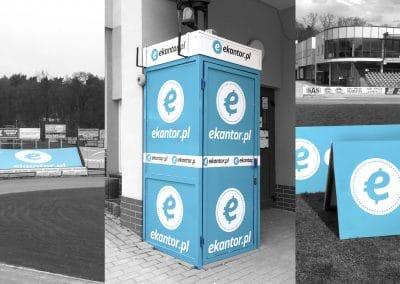 ekantor.pl – reklamy na stadionie żużlowym, budka, potykacze, druk, oklejenie