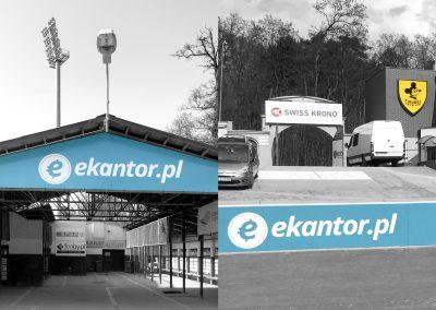ekantor.pl – seria reklam na stadionie żużlowym, tablica, banda, druk, montaż