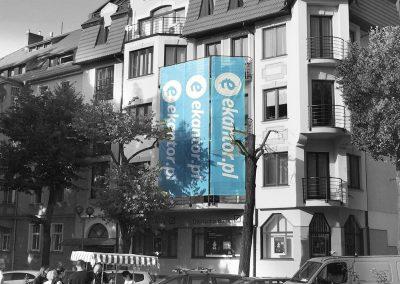 ekantor.pl – siatka mesh na budynku, projekt, druk, montaż