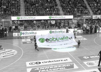 eobuwie – reklama na meczu koszykówki, projekt, druk siatki mesh